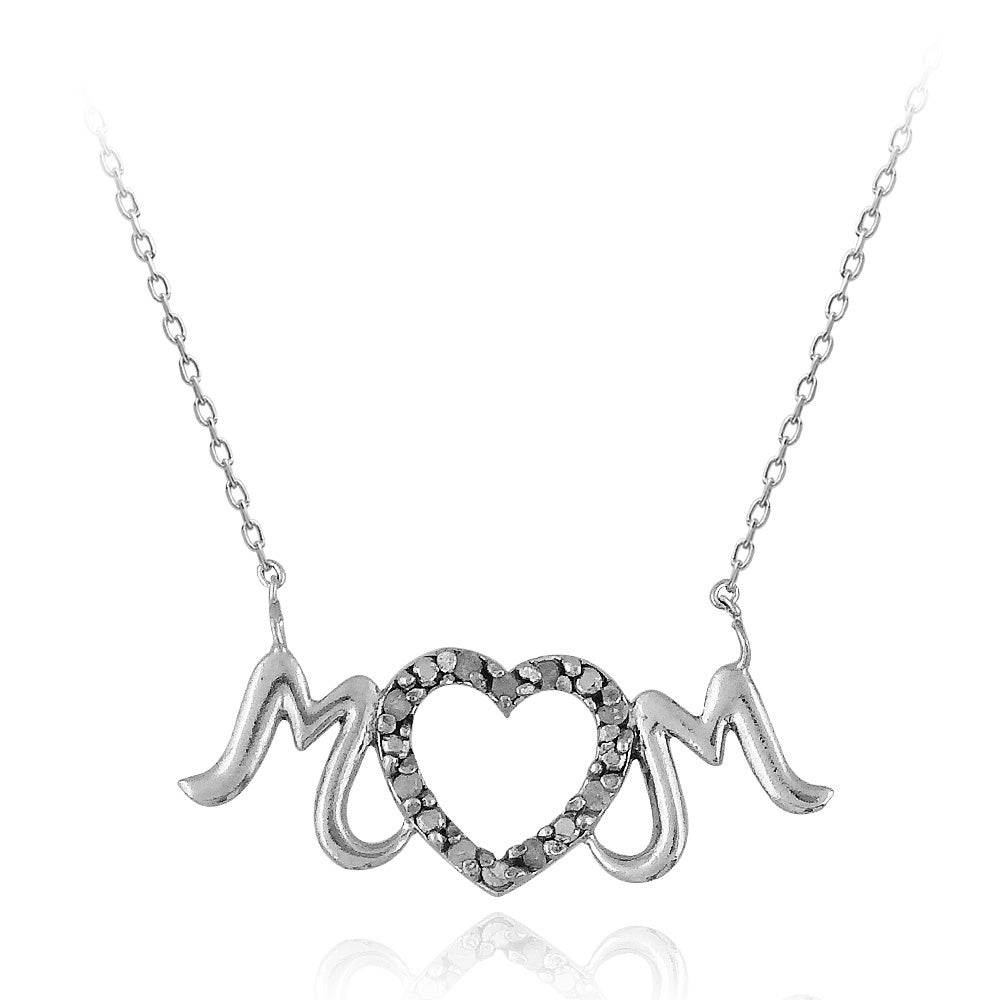 DB Designs Sterling Silver 1/10ct TDW Diamond 'MOM' Heart Necklace