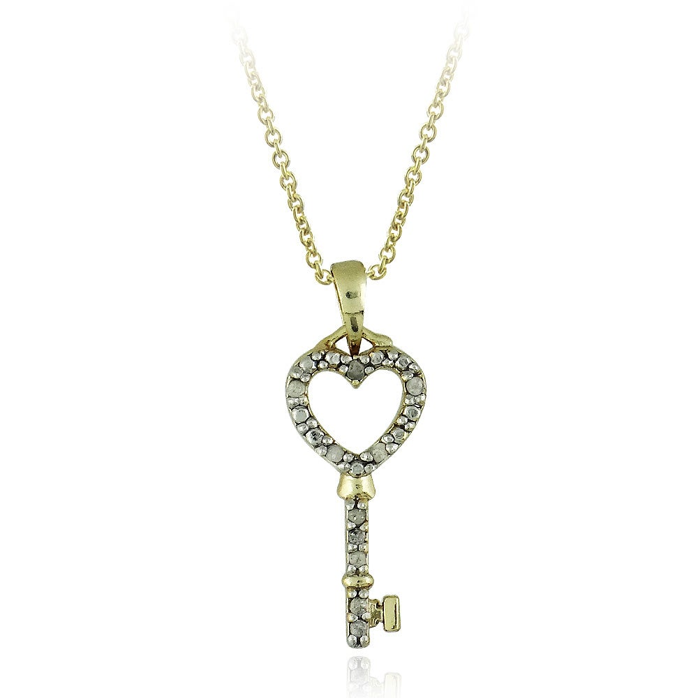 DB Designs 18k Yellow Gold Over Sterling Silver 1/10ct TDW Diamond Heart Key Necklace
