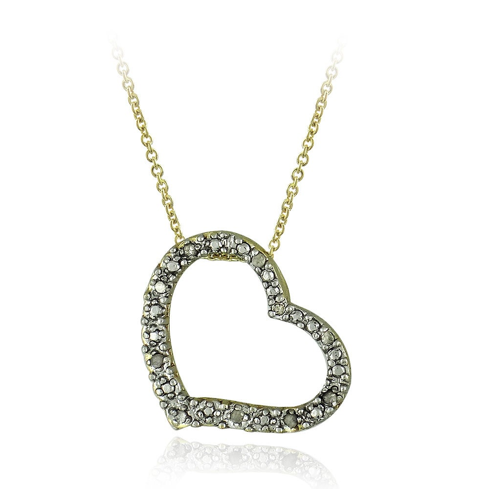 DB Designs 18k Yellow Gold Over Sterling Silver 1/10ct TDW Diamond Heart Necklace