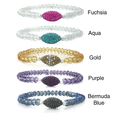 Icz Stonez Crystal and Oval Fireball Stretch Bracelet