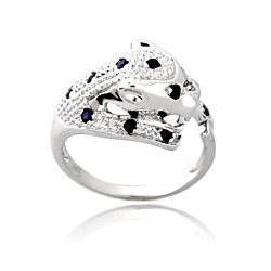Glitzy Rocks Silver 3/8ct TGW Sapphire and Diamond Accent Cheetah Ring