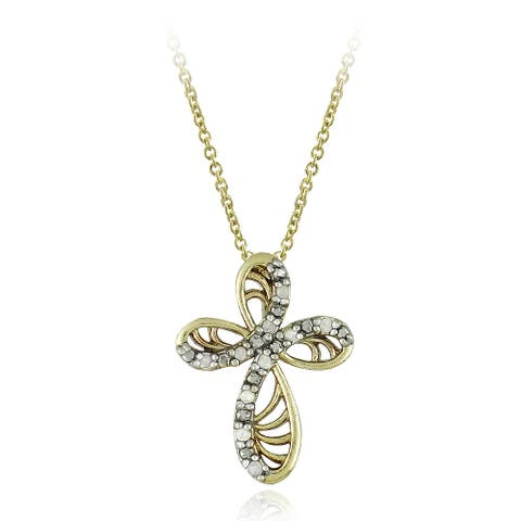DB Designs 18k Yellow Gold Over Silver 1/10ct TDW Diamond Ribbon Cross Necklace