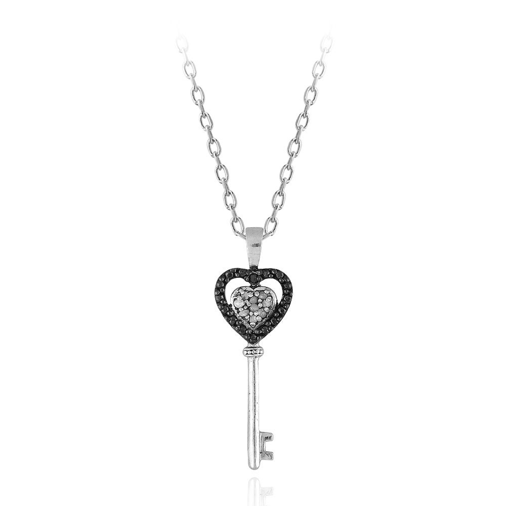 DB Designs Sterling Silver 1/10ct TDW Black And White Diamond Key Heart Necklace