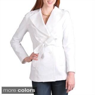 Larry Levine Plus Size Women's Lightweight Belted Rain Trench Coat