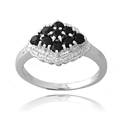Glitzy Rocks Silver 3/4ct TGW Sapphire and Diamond Accent Ring