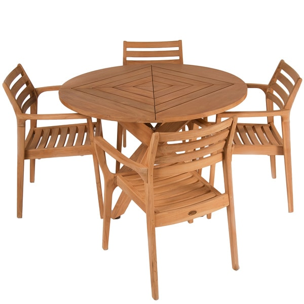 Lombardi Teak Wood 5-piece Outdoor Dining Set by Christopher Knight Home