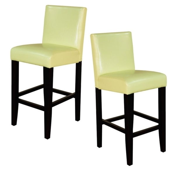 Villa Faux Leather Wax Green Counter Stools (Set of 2)