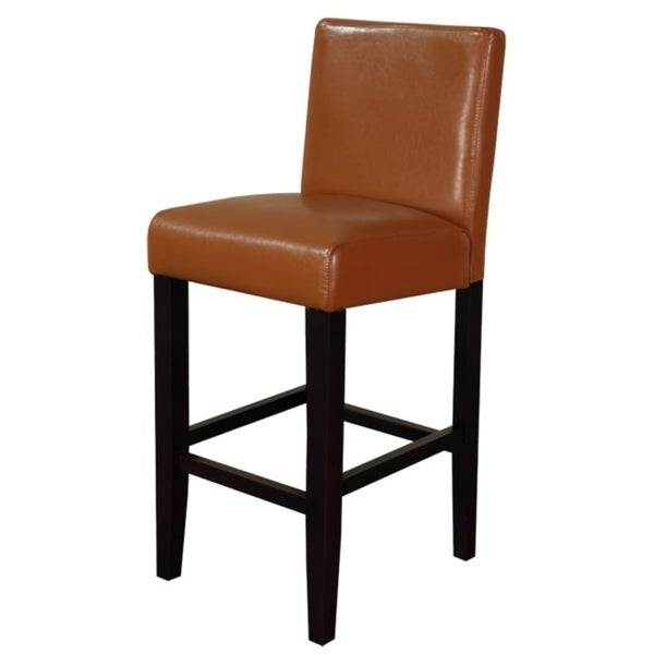 Shop Villa Faux Leather Worn Brown Counter Stools Set Of