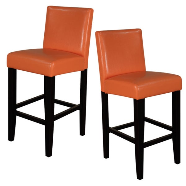 Villa Faux Leather Sunrise Orange Counter Stools Set Of 2