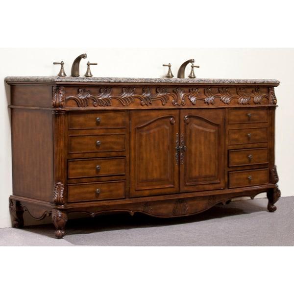 Granite Top 72-inch Double Sink Bathroom Vanity