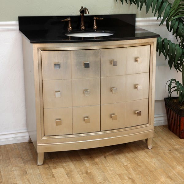 Bellaterra 36 In Single Sink Wood Vanity With Black