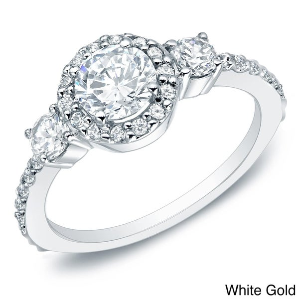 Auriya 14k Gold 3/4ct TDW 3-Stone  Diamond Halo Engagement Ring