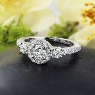 Three Stone 3/4ct TDW Round Diamond Halo Engagement Ring in 14k Gold by Auriya