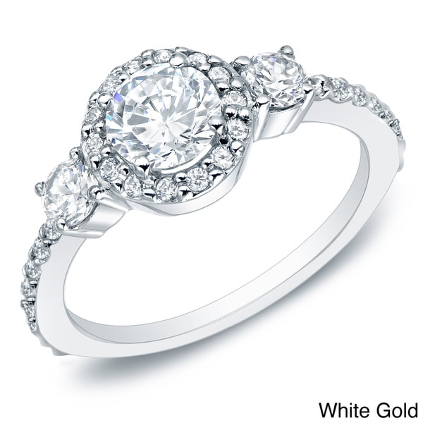Auriya 14k Gold 3/4ct TDW Round Diamond Halo Engagement Ring