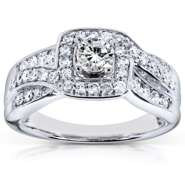 Annello by Kobelli 14k White Gold 7/8ct TDW Diamond Halo Engagement Ring (H-I, I1-I2)