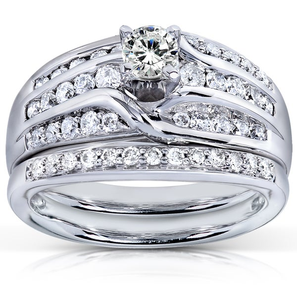 Annello by Kobelli 14k White Gold 1ct TDW Diamond Bridal Rings Set (H-I, I1-I2)