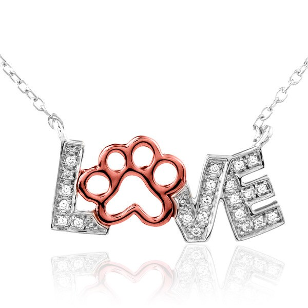 ASPCA Tender Voices Sterling Silver with 10k Pink Gold Love Paw Diamond Accent Necklace (I-J, I2-I3)