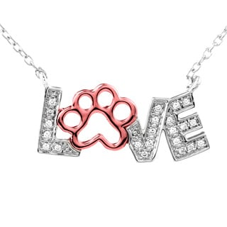 Tender Voices Sterling Silver with 10k Rose Gold 'Love' Diamond Accent Pendant with Open Paw Diamond Necklace