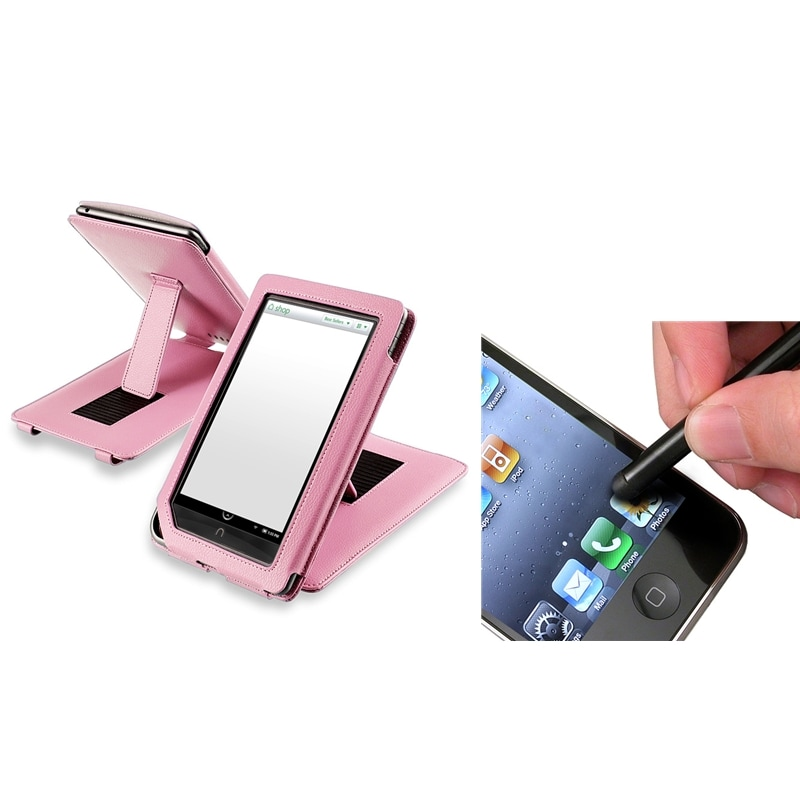 INSTEN Pink Leather Phone Case Cover/ Stylus for Barnes & Noble Nook Color