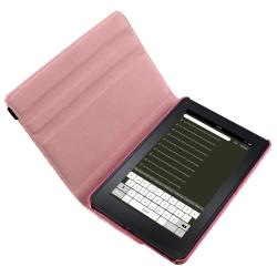 Pink Leather Case/ Screen Protector/ Stylus for Amazon Kindle Fire