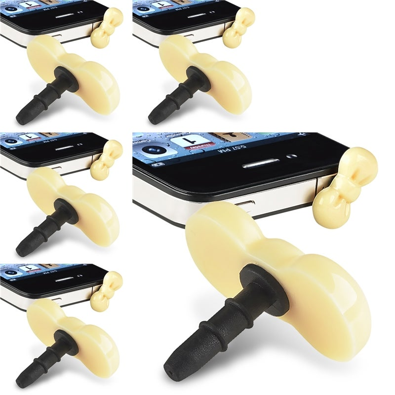 INSTEN Yellow Ribbon Headset Dust Cap for Apple iPhone 4/ 4S (Pack of 5)