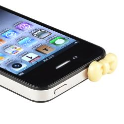 INSTEN Yellow Ribbon Headset Dust Cap for Apple iPhone 4/ 4S (Pack of 2) - Thumbnail 1