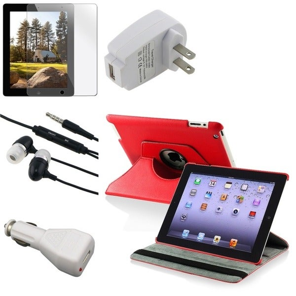 BasAcc Red Case/ Protector/ Chargers/ Headset for Apple iPad 2/ 3/ New iPad/ 4