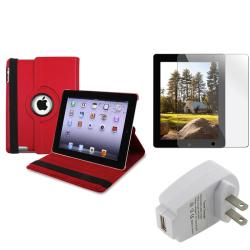 INSTEN Red Tablet Case Cover/ Protector/ Travel Charger for Apple iPad 2/ 3/ New iPad/ 4