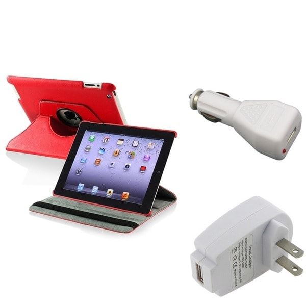 INSTEN Red Tablet Case Cover/ Car Charger/ Travel Charger for Apple iPad 2/ 3/ New iPad/ 4