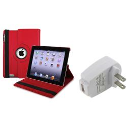 INSTEN Red Leather Swivel Tablet Case Cover/ Travel Charger for Apple iPad 2/ 3/ New iPad/ 4