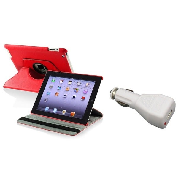 INSTEN Red Leather Swivel Tablet Case Cover/ Car Charger for Apple iPad 2/ 3/ New iPad/ 4