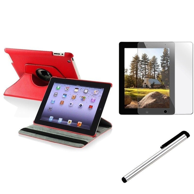 Insten Red Leather Swivel Tablet Case Cover/ Protector/ S...