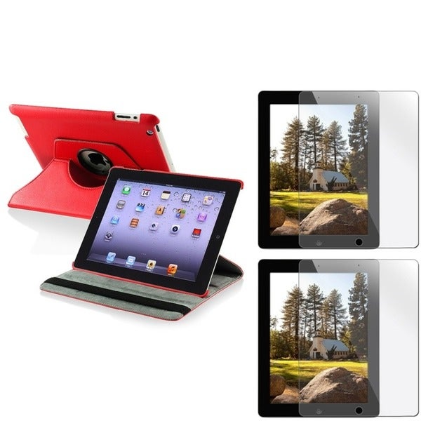 INSTEN Red Leather Swivel Tablet Case Cover/ Screen Protectors for Apple iPad 2/ 3/ New iPad/ 4