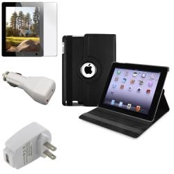 INSTEN Black Tablet Case Cover/ Car Charger/ Travel Charger for Apple iPad 2/ 3/ New iPad/ 4