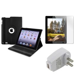 INSTEN Black Swivel Tablet Case Cover/ Protector/ Travel Charger for Apple iPad 2/ 3/ New iPad/ 4