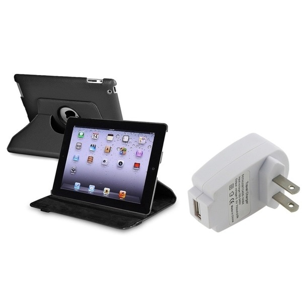 INSTEN Black Leather Swivel Tablet Case Cover/ Travel Charger for Apple iPad 2/ 3/ New iPad/ 4