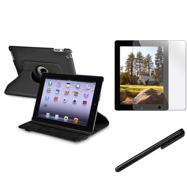 INSTEN Black Swivel Tablet Case Cover/ Stylus/ Screen Protector for Apple iPad 2/ 3/ New iPad/ 4