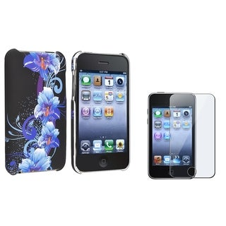Blue Flower Case/ LCD Protector for Apple iPod Touch Generation 2/ 3