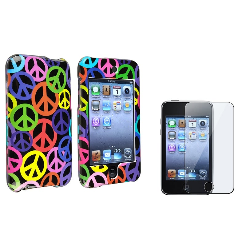 INSTEN Rainbow Peace iPod Case Cover/ LCD Protector for Apple iPod Touch Generation 2/ 3