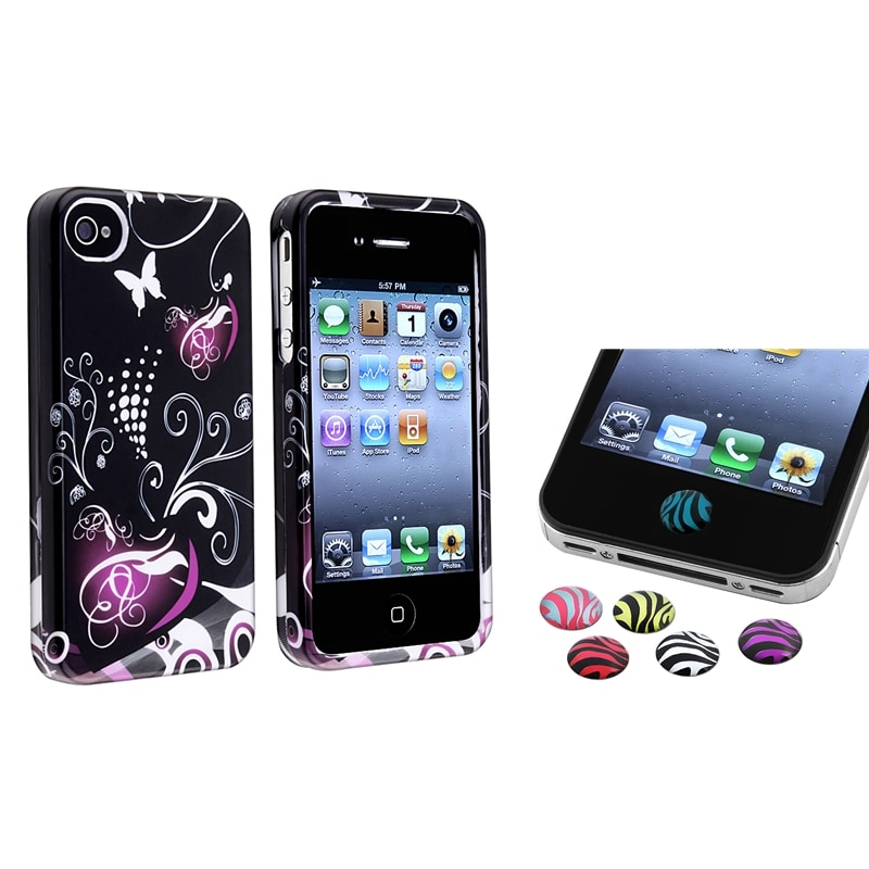 INSTEN Black/ Purple Heart PVC Hard Plastic Phone Case Cover/ HOME Button Stickers for Apple iPhone 4/ 4S