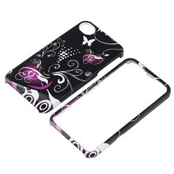 INSTEN Black/ Purple Heart PVC Hard Plastic Phone Case Cover/ HOME Button Stickers for Apple iPhone 4/ 4S - Thumbnail 1