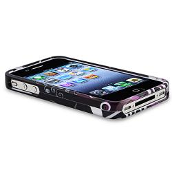 INSTEN Black/ Purple Heart Phone Case Cover/ HOME Button Stickers for Apple iPhone 4/ 4S