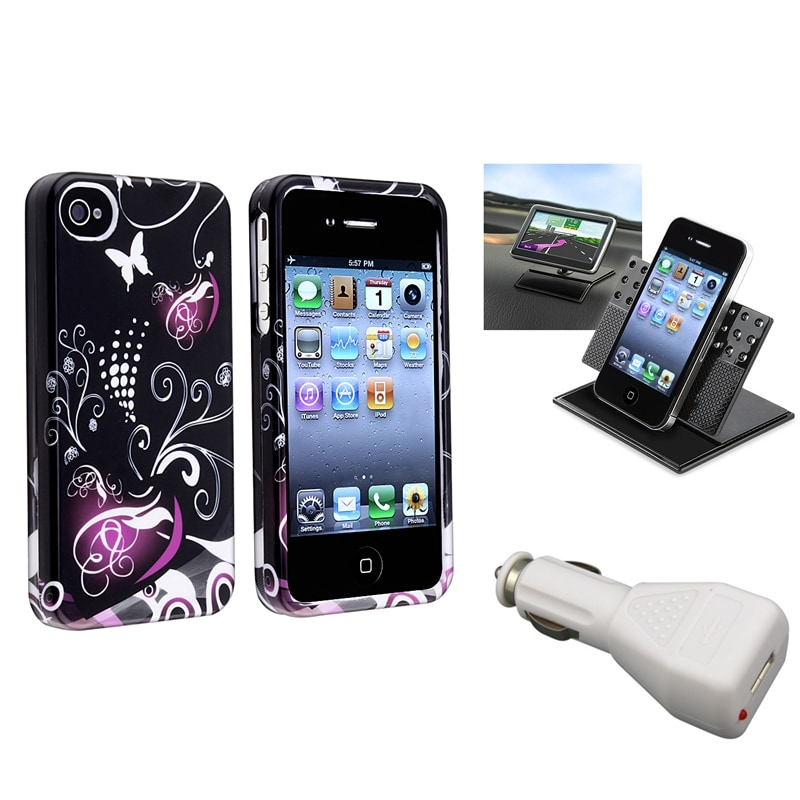 INSTEN Phone Case Cover/ White Car Charger/ Dashboard Phone Holder for Apple iPhone 4/ 4S