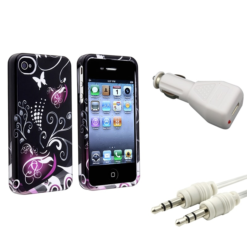 INSTEN Heart Phone Case Cover/ Audio Cable/ White Car Charger for Apple iPhone 4/ 4S