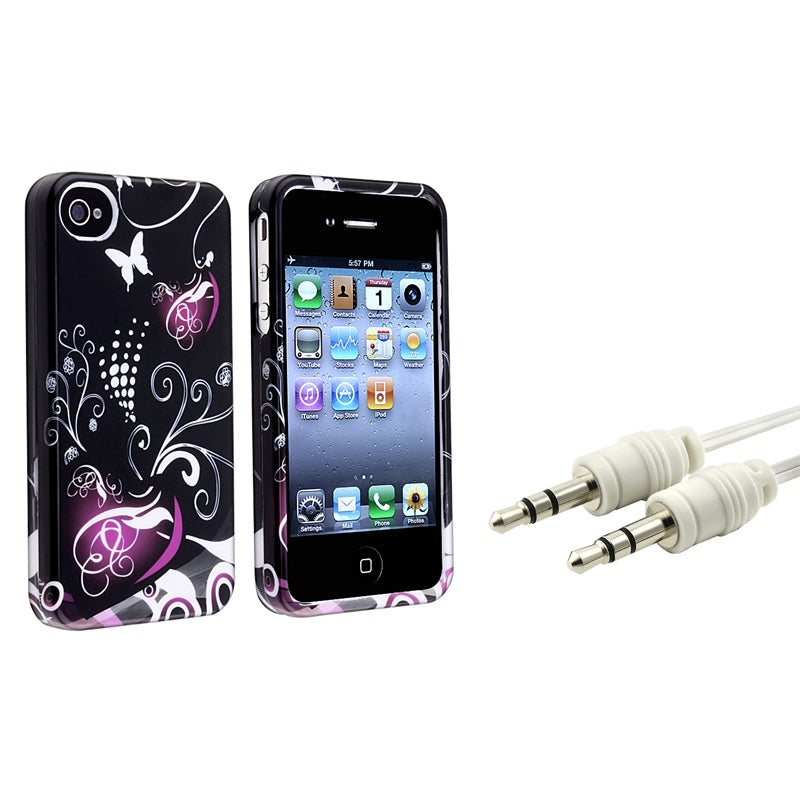 INSTEN Heart Phone Case Cover/ White Audio Cable for Apple iPhone 4/ 4S