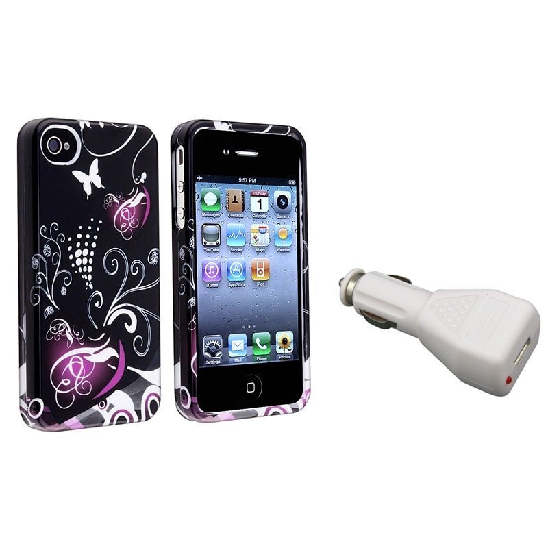 INSTEN Heart Phone Case Cover/ White Car Charger for Apple iPhone 4/ 4S