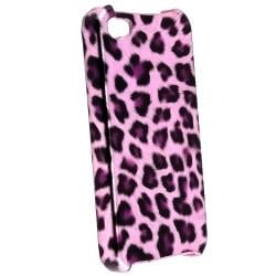 INSTEN Purple Leopard Phone Case Cover/ White Travel Charger for Apple iPhone 4/ 4S