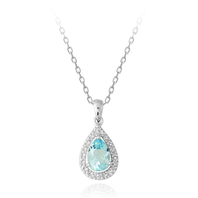 Glitzy Rocks Silver Blue Topaz 1 1/2ct TGW Diamond Teardrop Necklace
