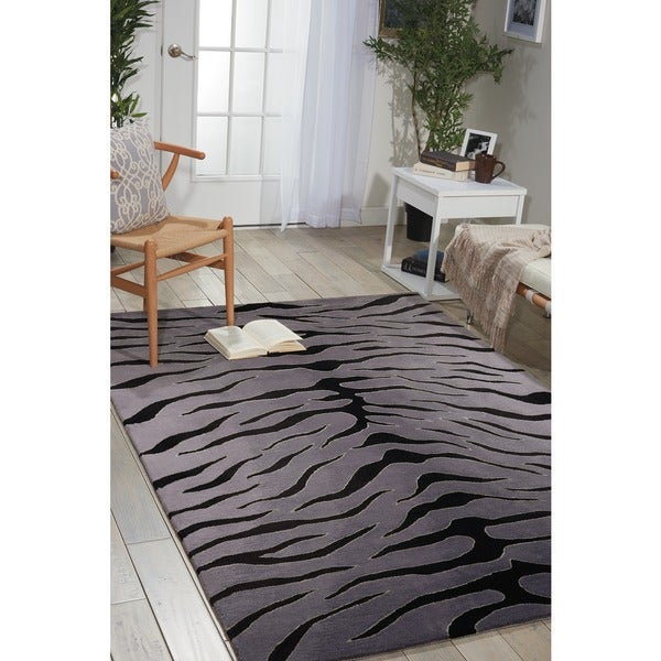 Nourison Hand-tufted Contours Animal Print Black Grey Rug (8' x 10'6)