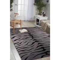 Nourison Hand-tufted Contours Animal Print Black Grey Rug - 8' x 10'6